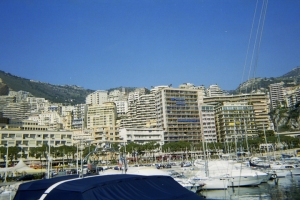 Monte Carlo, Monaco skyline from marina