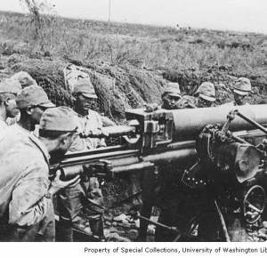 Japanese artillery on Attu, 1943 Property of Univ. of Washington, Special Collections.
