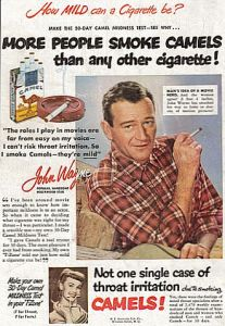 John Wayne in Camels ad