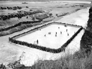 "Hockey game - 3rd Princess Patricia's Battalion won 4-2 vs 1st Batt/Royal 22nd Reg.  The matches took place ""in the sound of heavy guns of the nearby US Army  artillery""___Vince Courtnay"