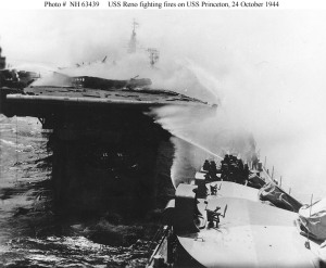 USS Reno fighting the fires on the USS Princeton