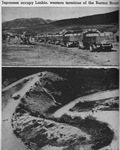 Burma Road cut by the Japanese